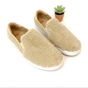 UGG | Ricci Faux Fur Slip On Flat Shoe Natural 8.5